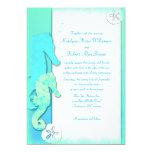 Seahorse Couple Whimsical Aqua Wedding 13 Cm X 18 Cm Invitation Card