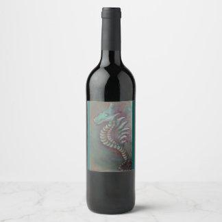seahorse dragon wine label