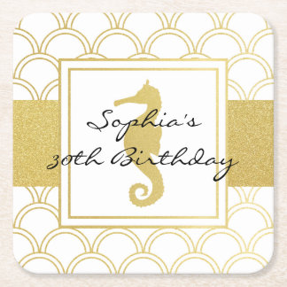 Seahorse Faux Gold Nautical Vintage Birthday Party Square Paper Coaster