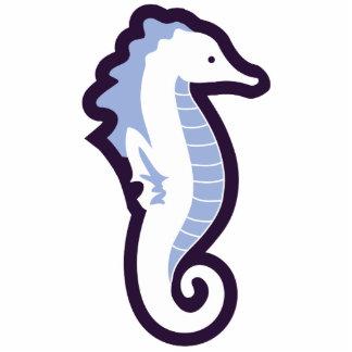 Seahorse Frolic Sculpture - Blue Standing Photo Sculpture