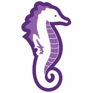 Seahorse Frolic Sculpture - Purple Standing Photo Sculpture