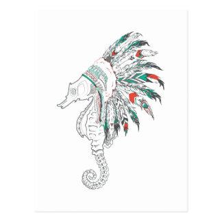 seahorse headdress postcard