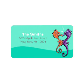 Seahorse Kiss Off-Leash Art™ Personalized Address Label