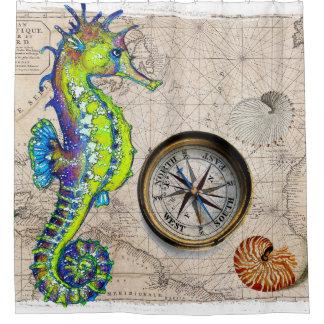 Seahorse Lime Compass Nautical Shower Curtain