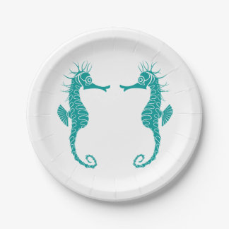 Seahorse Love Teal Turquoise - Beach Wedding Paper Plate