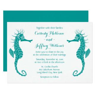 Seahorse Love Teal Turquoise Green Beach Wedding Card