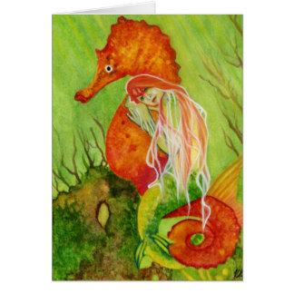 Seahorse mermaid fantasy Card