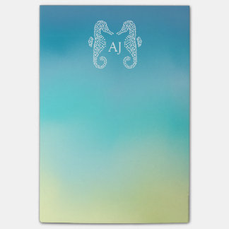 Seahorse Monogram Beach Ocean Ombre Post-it Notes