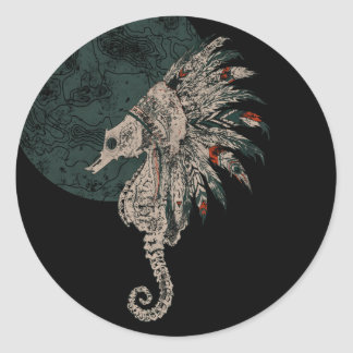 seahorse native night classic round sticker