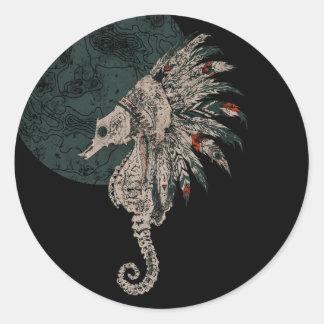 seahorse native night round sticker