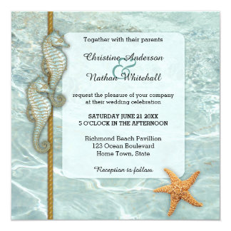 Seahorse Nautical Aqua Wedding Invitation