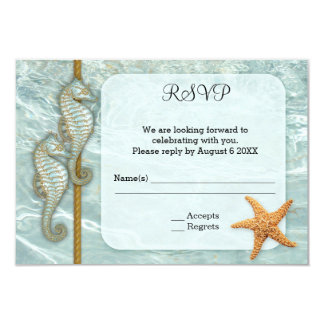 Seahorse Nautical Wedding Enclosure RSVP Card