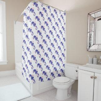 Seahorse navy blue, pink summer beach home décor shower curtain