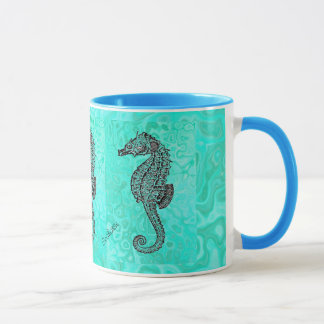 Seahorse on Aqua Splash Turquoise Marble Pattern Mug