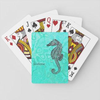 Seahorse on Aqua Splash Turquoise Marble Pattern Playing Cards