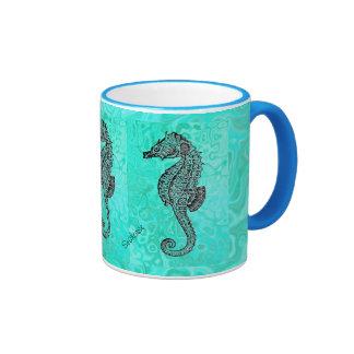 Seahorse on Aqua Splash Turquoise Marble Pattern Ringer Mug
