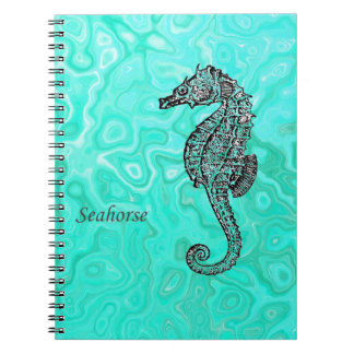 Seahorse on Aqua Splash Turquoise Marble Pattern Spiral Notebook