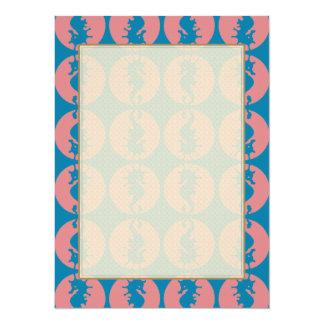 Seahorse Pattern in Melon and Dark Teal 14 Cm X 19 Cm Invitation Card