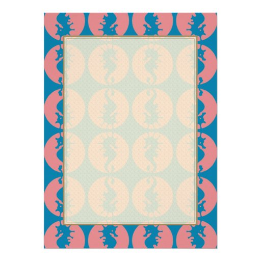 Seahorse Pattern in Melon and Dark Teal Invitations