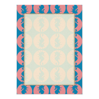 Seahorse Pattern in Melon and Dark Teal 5.5x7.5 Paper Invitation Card