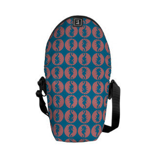 Seahorse Pattern in Melon and Dark Teal Courier Bags
