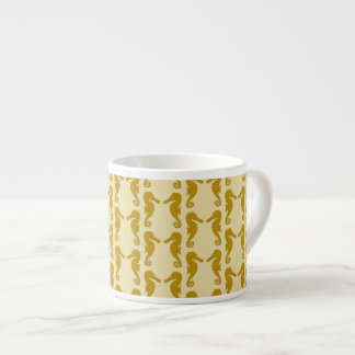 Seahorse Pattern in Tan and Brown. Espresso Cup