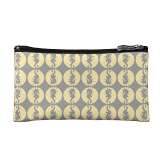 Seahorse Pattern in Yellow and Gray Cosmetics Bags