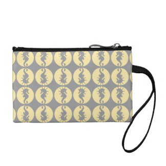 Seahorse Pattern in Yellow and Gray Coin Wallets