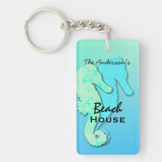 Seahorse Personalized Family Beach House Key Ring