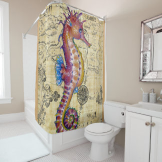 Seahorse Red Map Shower Curtain