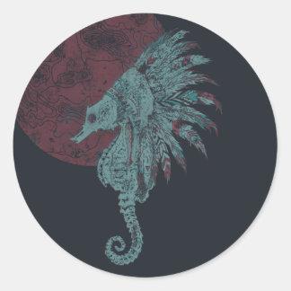 seahorse red moon round sticker