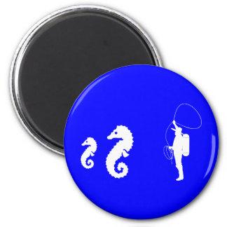 Seahorse Rodeo 6 Cm Round Magnet