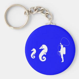Seahorse Rodeo Basic Round Button Key Ring