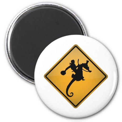 Seahorse Rodeo Warning Sign Refrigerator Magnets