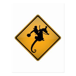 Seahorse Rodeo Warning Sign Postcard