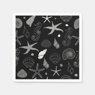 Seahorse Seashell Starfish Black Pattern Disposable Serviettes