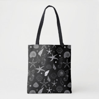 Seahorse Seashell Starfish Black Pattern Tote Bag