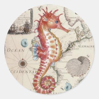 Seahorse Shabby Classic Round Sticker