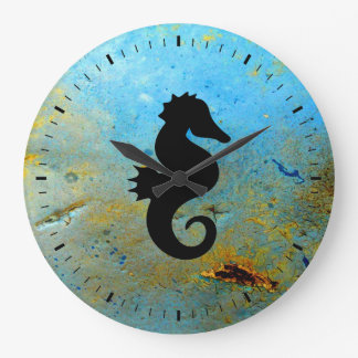 Seahorse Silhouette Large Clock