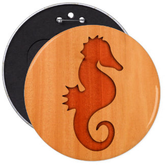 Seahorse silhouette on wood 6 cm round badge