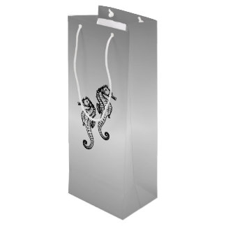 Seahorse Silver Wine Gift Bag