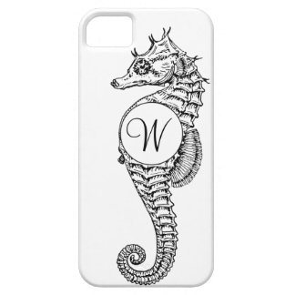 Seahorse Sketch Initialed Case Case For The iPhone 5