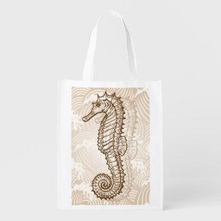 Seahorse Sketch Market Totes