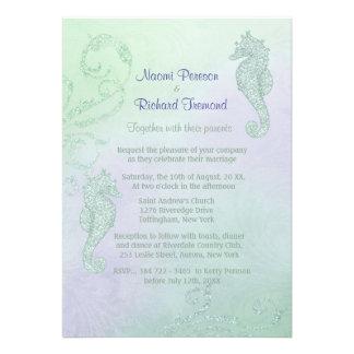 Seahorse Sparkle Wedding Invitation Card