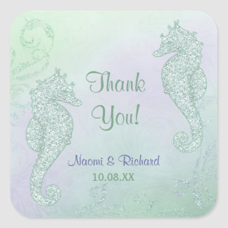 Seahorse Sparkle Wedding -  Thank You Square Sticker