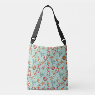 Seahorse, Starfish and Seashells Teal Bag