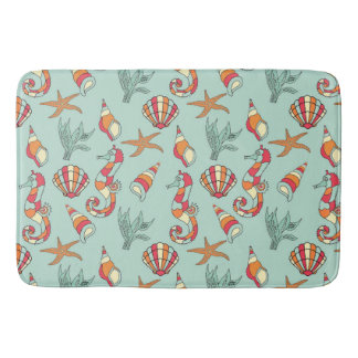 Seahorse, Starfish and Seashells Teal Bathroom Mat