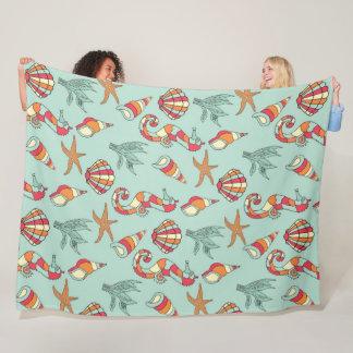 Seahorse, Starfish and Seashells Teal Blanket