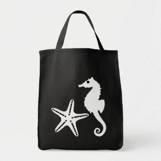 Seahorse & Starfish, black and white Tote Bag