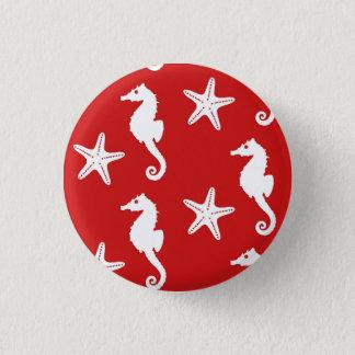 Seahorse & starfish - dark coral red and white 3 cm round badge